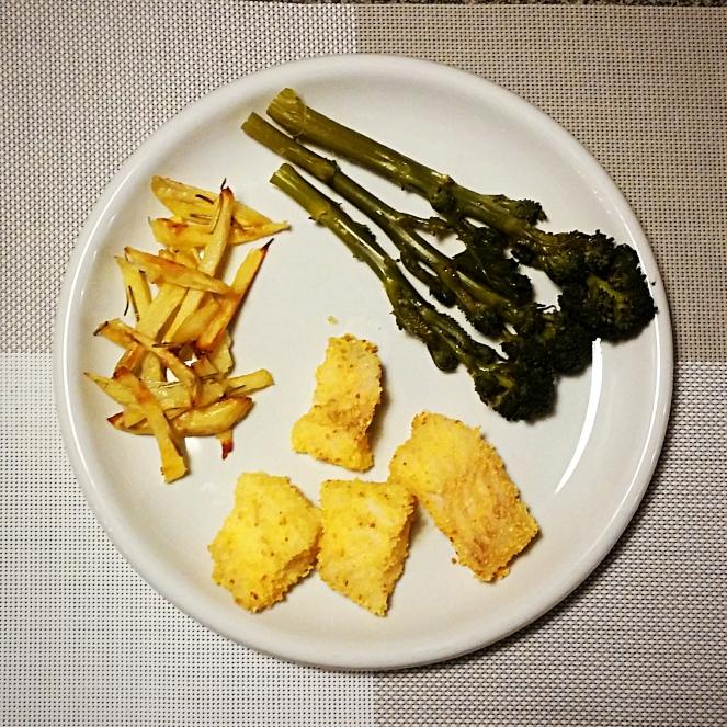 Ecco il nostro piatto senza glutine: broccolo rapino, patatine e merluzzo