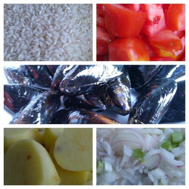 Tiella senza glutine con riso, patate, cozze, pomodori e cipolla