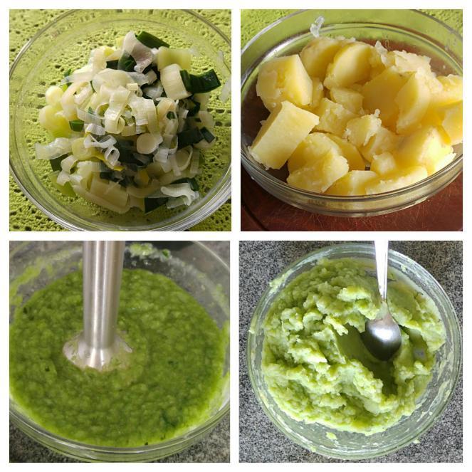 Fasi della preparazione del purè di patate e porro