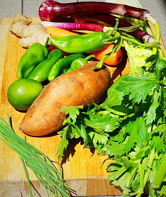 Verdure fresche utilizzate per preparare la salutare zuppa esotica,