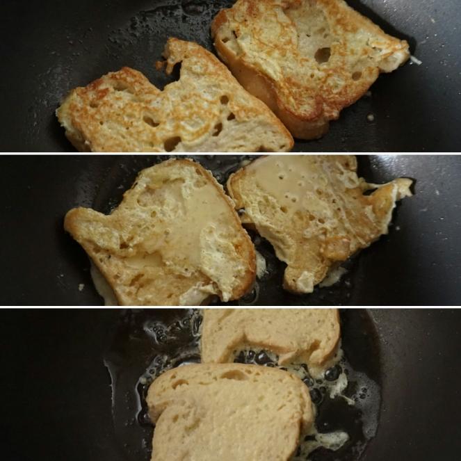 Tre fasi della cottura del French toast senza glutine
