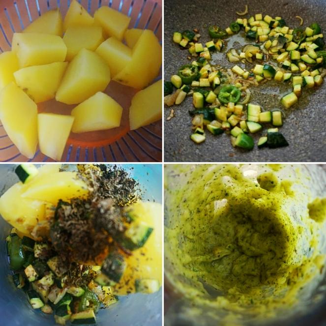 Le fasi di preparazione del ripieno con cui farcire i fiori di zucchina