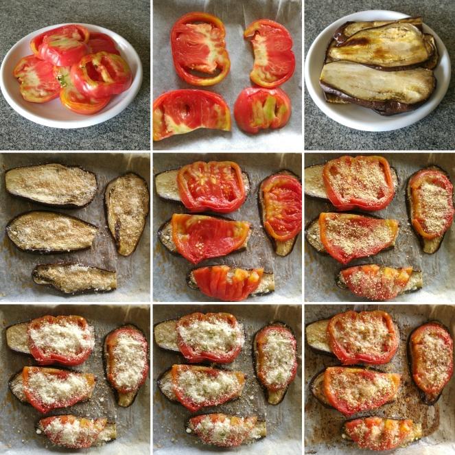 Dall'alto, in senso orario, ecco le fasi di preparazione dei nostri sformatini senza glutine e gratinati al forno composti da fette di pomodoro cuore di bue e melanzana.