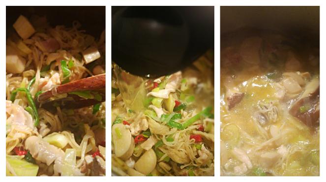 La zuppa di pollo, verdure, funghi e bambù viene prima fatta rosolare, poi si aggiunge progressivamente il brodo vegetale e si porta a cottura.