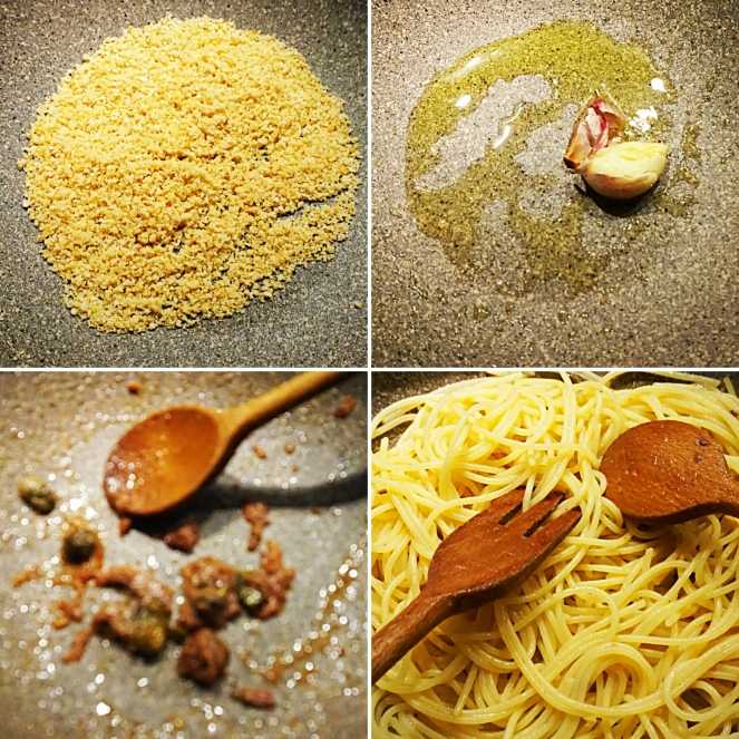 Nelle quattro foto sono illustrati i passaggifondamentali della preparazione del condimento utilizzato per gli spaghetti senza glutine con acciughe e pangrattato.