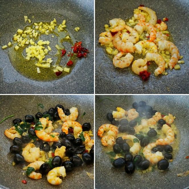 Le fasi di preparazione delle mazzancolle che vengono cotte con le olive nere ed una base d'aglio, zenzero, peperoncino piccante e prezzemolo fresco.
