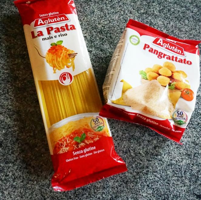 Pasta e pane grattugiato senza glutine di marca Aglutèn.