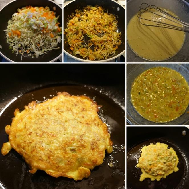 Nelle immagini sono riassunte le differenti fasi della preparazione dell'okonomiyaki gluten free e vegetariano. Cottura delle verdure, passaggio di queste nella pastella a base di acqua, farina senza glutine e uova ed infine la cottura dell'okonomiyaki, una sorta di piccola frittata simile al pancake.