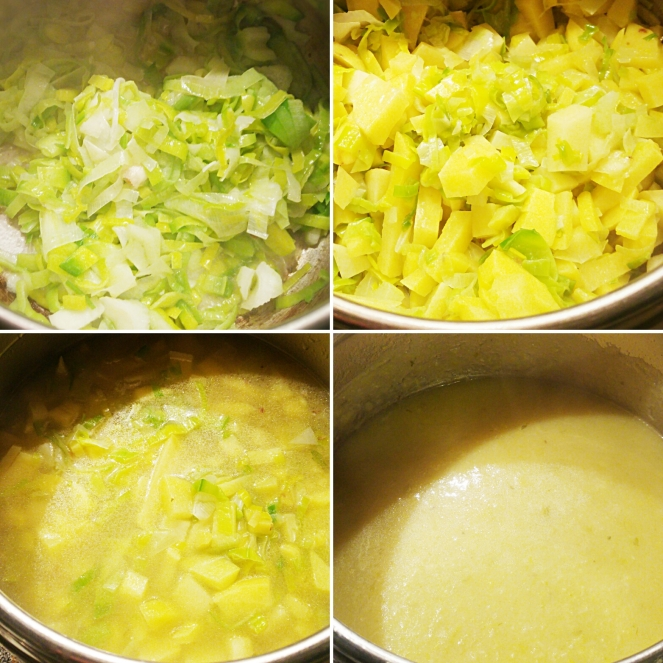 Dall'alto a sinistra e procedendo in senso orario, ecco i vari momenti della preparazione della nostra ricetta gluten free: zuppa cremosa di patate e porri.