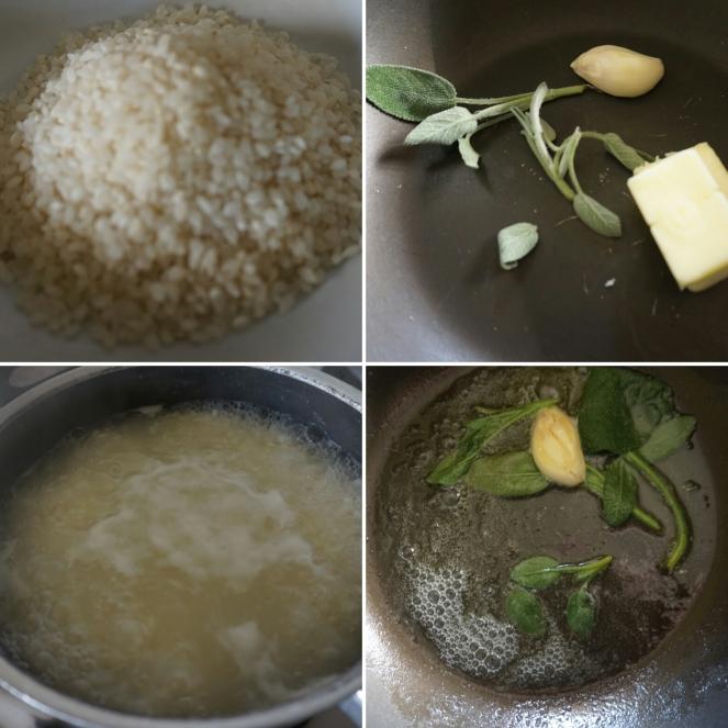 Nelle quattro foto sono riassunte le fasi di preparazione della ricetta del riso in cagnone.